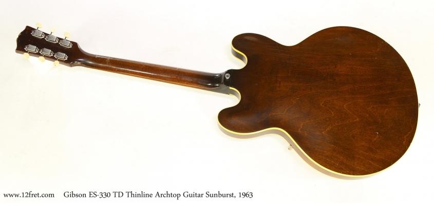 Gibson ES-330 TD Thinline Archtop Guitar Sunburst, 1963  Full Rear View