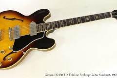 Gibson ES-330 TD Thinline Archtop Guitar Sunburst, 1963  Full Front View