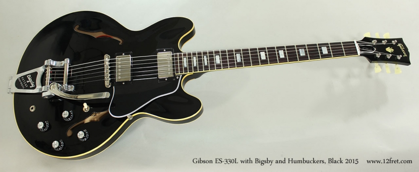 Gibson ES-330L with Bigsby and Humbuckers, Black 2015 Full Front View