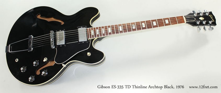Gibson ES-335 TD Thinline Archtop Black, 1976 Full Front View