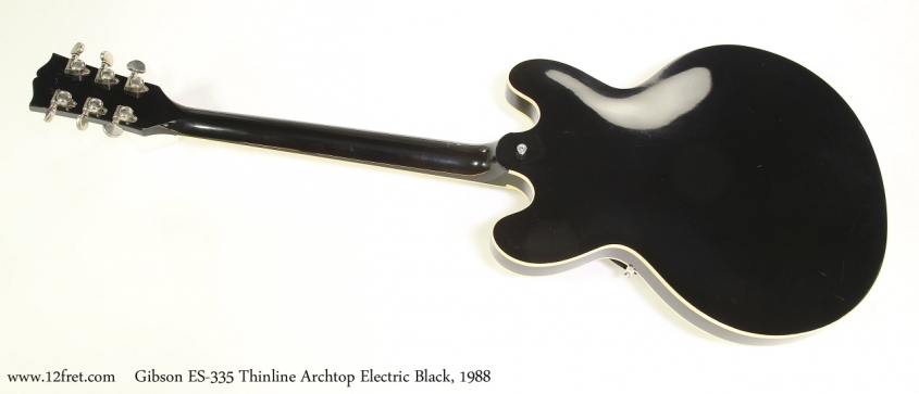 Gibson ES-335 Thinline Archtop Electric Black, 1988  Full Rear View