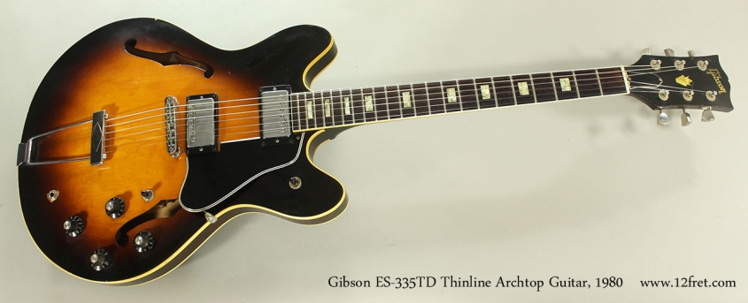 Gibson ES-335TD Thinline Archtop Guitar, 1980 Full Front VIew