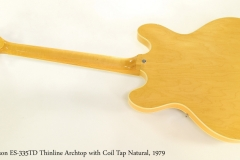 Gibson ES-335TD Thinline Archtop with Coil Tap Natural, 1979  Full Rear View