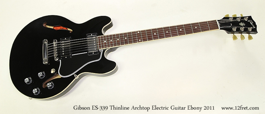 Gibson ES-339 Thinline Archtop Electric Guitar Ebony 2011 Full Front View