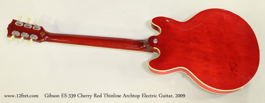 Gibson ES-339 Cherry Red Thinline Archtop Electric Guitar, 2009 Full Rear View