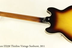 Gibson ES339 Thinline Vintage Sunburst, 2011 Full Rear View
