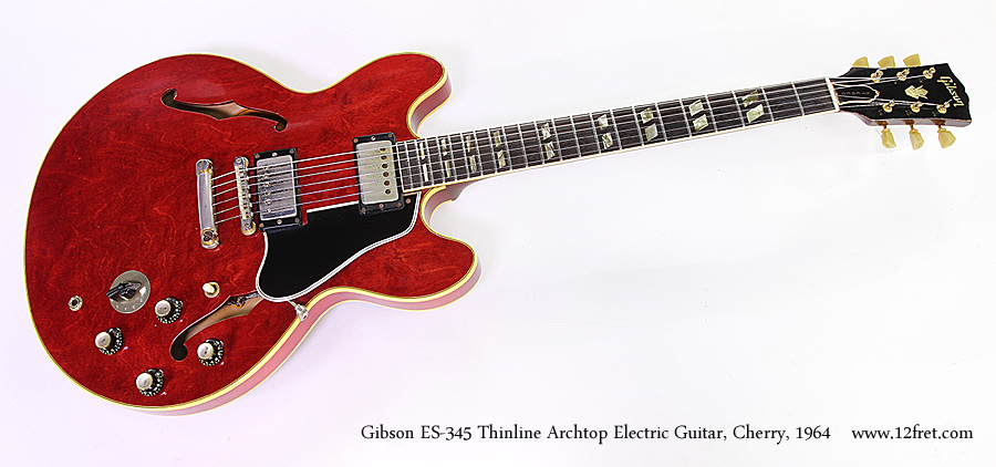 Gibson ES-345 Thinline Archtop Electric Guitar, Cherry, 1964 Full Front View