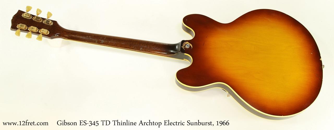 Gibson ES-345 TD Thinline Archtop Electric Sunburst, 1966    Full Rear View