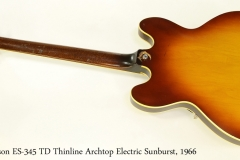 Gibson ES-345 TD Thinline Archtop Electric Sunburst, 1966    Full Rear View
