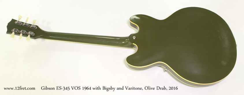 Gibson ES-345 VOS 1964 with Bigsby and Varitone, Olive Drab, 2016 Full Rear View