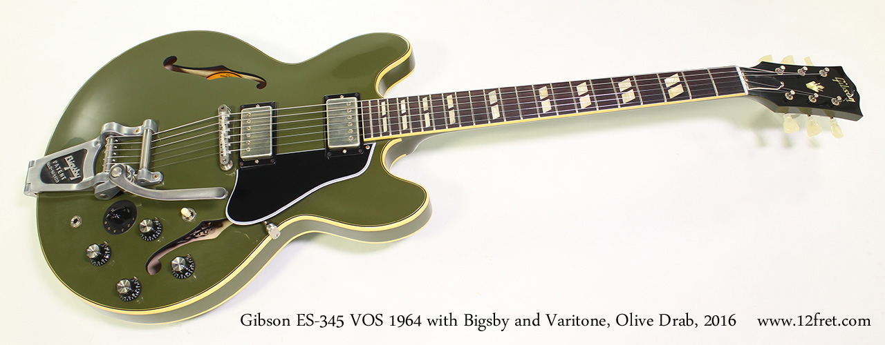 Gibson ES-345 VOS 1964 with Bigsby and Varitone, Olive Drab, 2016 Full Front View