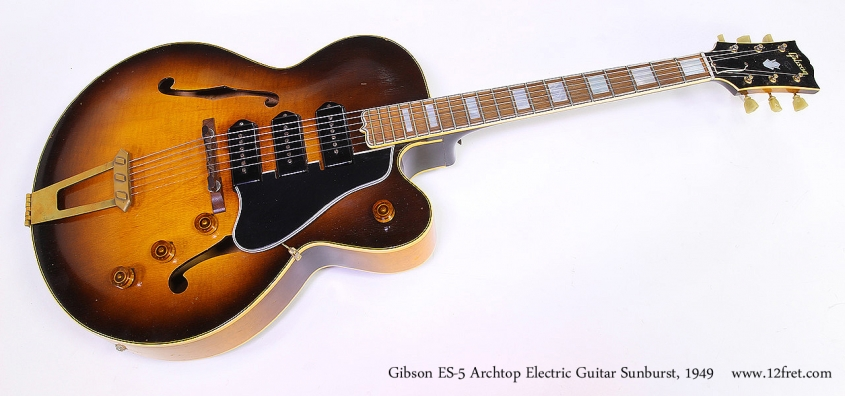 Gibson ES-5 Archtop Electric Guitar Sunburst, 1949 Full Front View
