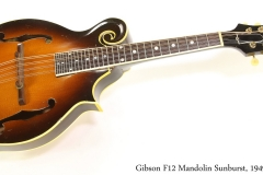 Gibson F12 Mandolin Sunburst, 1949   Full Front View