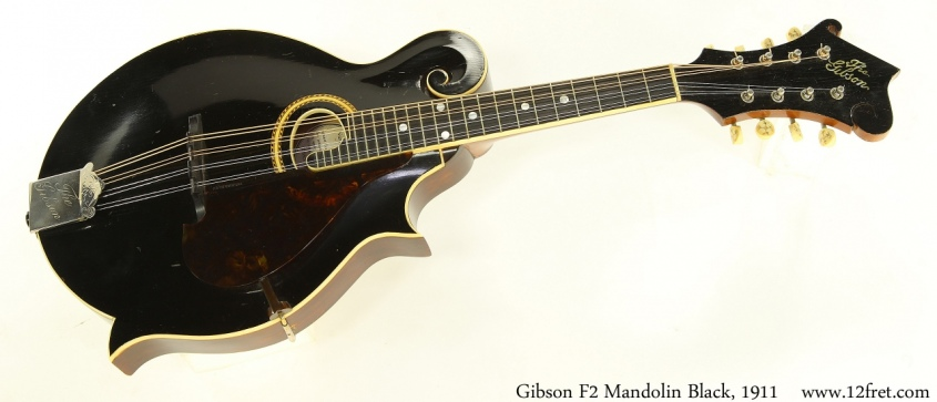 Gibson F2 Mandolin Black, 1911 Full Front View