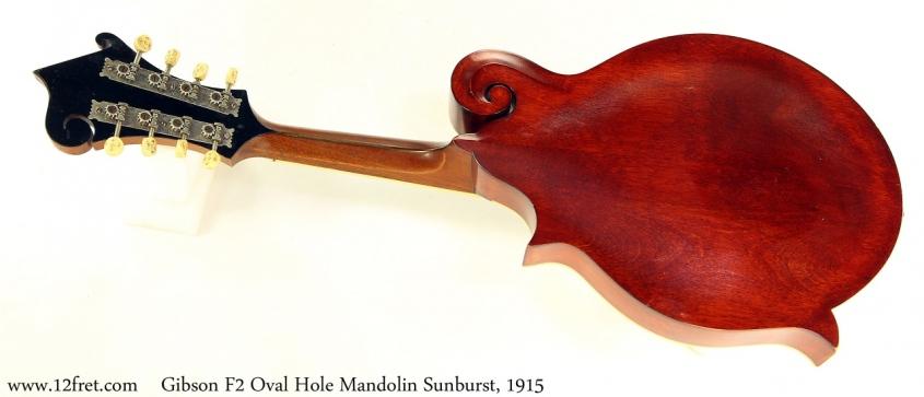 Gibson F2 Oval Hole Mandolin Sunburst, 1915 Full Rear View