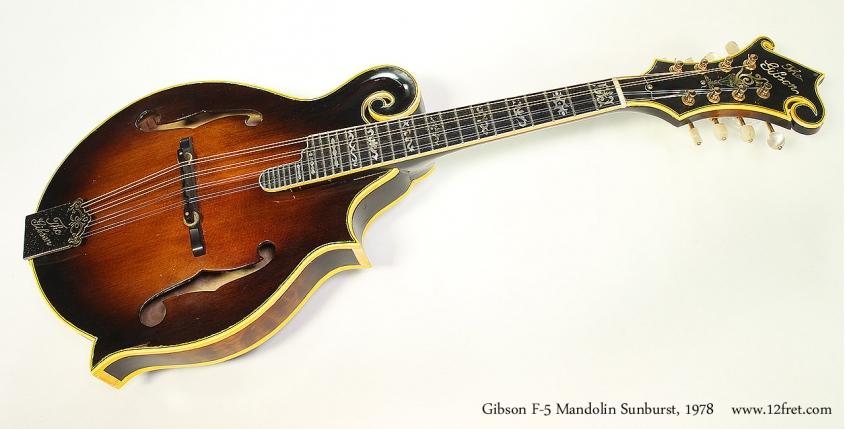 Gibson F-5 Mandolin Sunburst, 1978 Full Front View