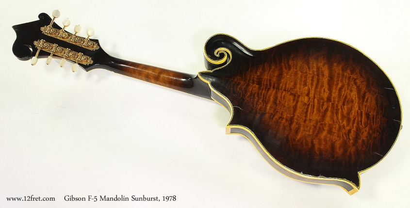 Gibson F-5 Mandolin Sunburst, 1978 Full Rear View
