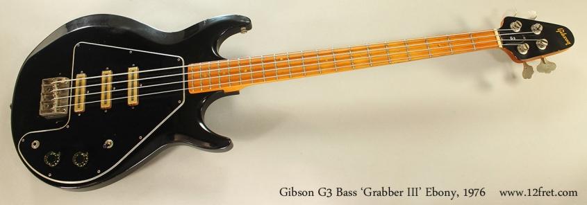 Gibson G3 Bass 'Grabber III' Ebony, 1976 Full Front View