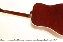 Gibson Hummingbird Square Shoulder Dreadnought Sunburst, 1967 Full Rear View
