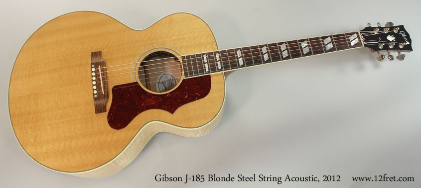 Gibson J-185 Blonde Steel String Acoustic, 2012 Full Front View