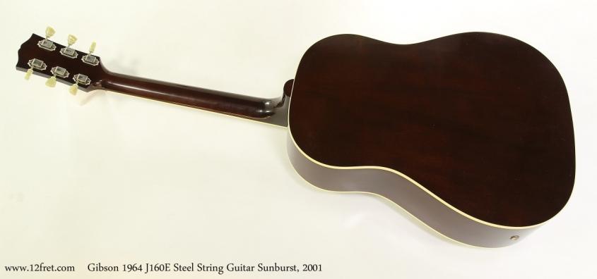 Gibson 1964 J160E Steel String Guitar Sunburst, 2001  Full Rear VIew