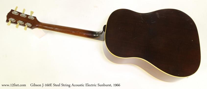 Gibson J-160E Steel String Acoustic Electric Sunburst, 1966   Full Rear View