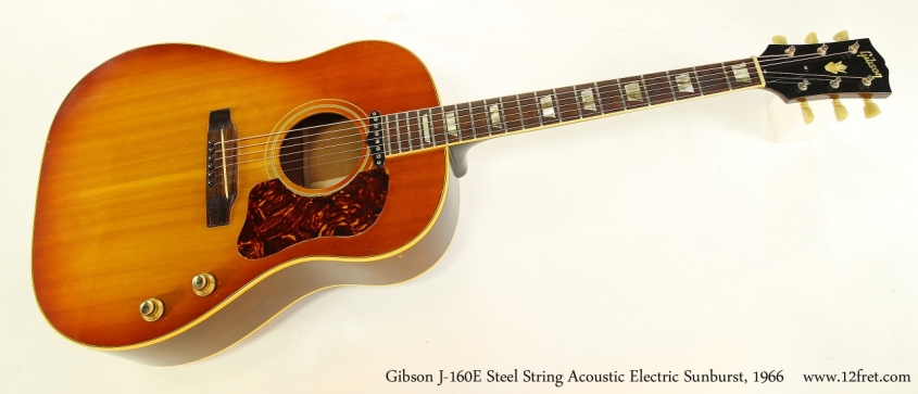 Gibson J-160E Steel String Acoustic Electric Sunburst, 1966   Full Front View