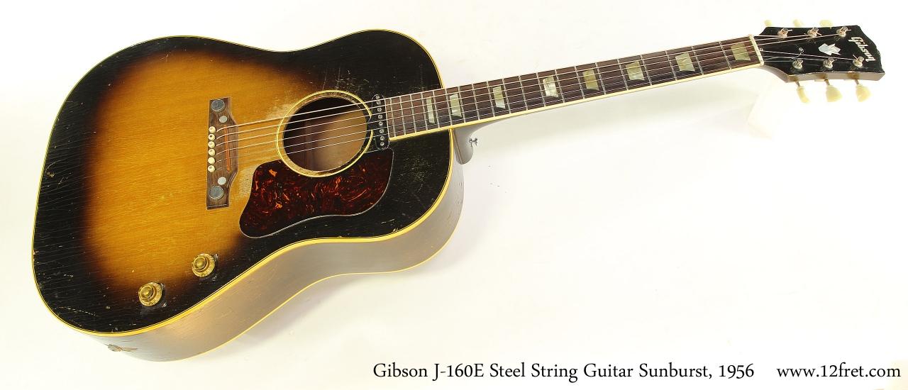 Gibson J-160E Steel String Guitar Sunburst, 1956 Full Front View