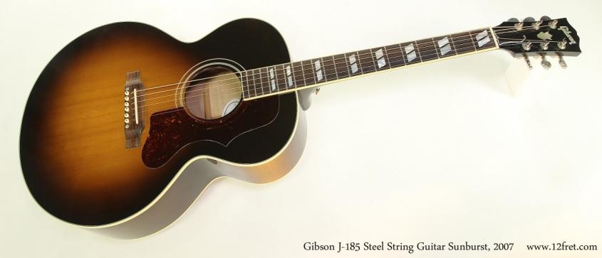Gibson J-185 Steel String Guitar Sunburst, 2007  Full Front View