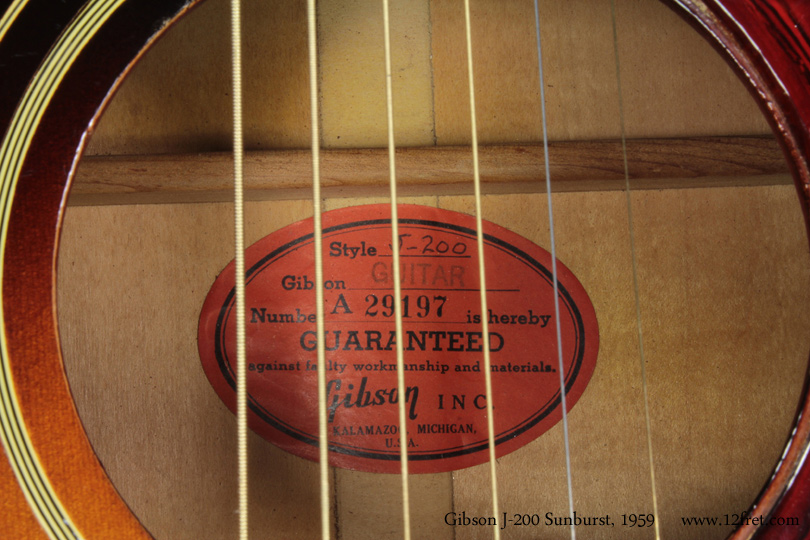Gibson J-200 Sunburst 1959 label