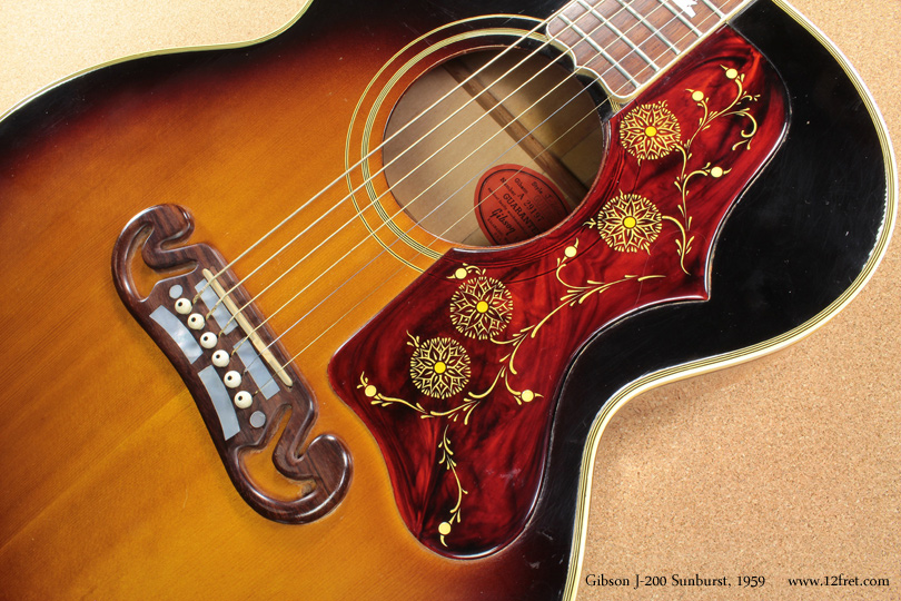 Gibson J-200 Sunburst 1959 top detail