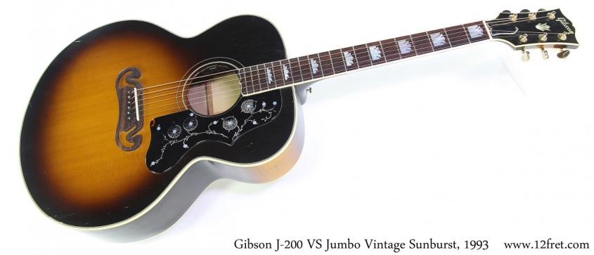 Gibson J-200 VS Jumbo Vintage Sunburst, 1993 Full Front View
