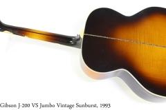 Gibson J-200 VS Jumbo Vintage Sunburst, 1993 Full Rear View