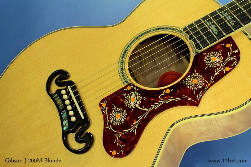 Gibson J-200M Blonde top detail