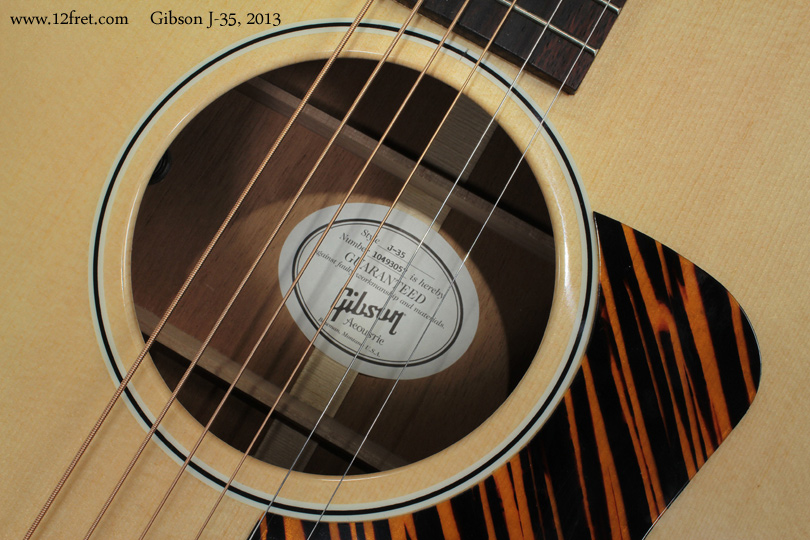 Gibson J-35 label