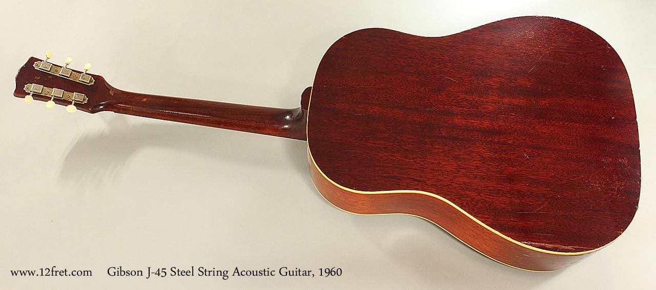 Gibson J-45 Steel String Acoustic Guitar, 1960 Full Rear View
