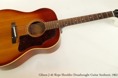 Gibson J-45 Slope Shoulder Dreadnought Guitar Sunburst, 1962 Full Front View