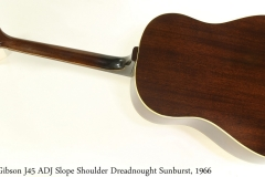 Gibson J45 ADJ Slope Shoulder Dreadnought Sunburst, 1966 Full Rear View