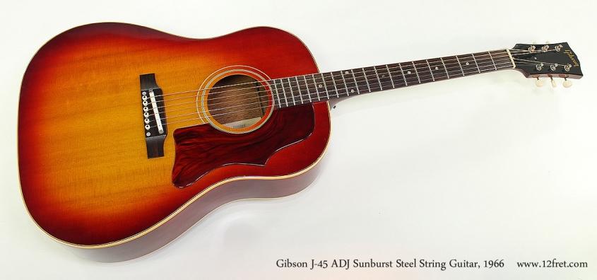 Gibson J-45 ADJ Sunburst Steel String Guitar, 1966 Full Front View
