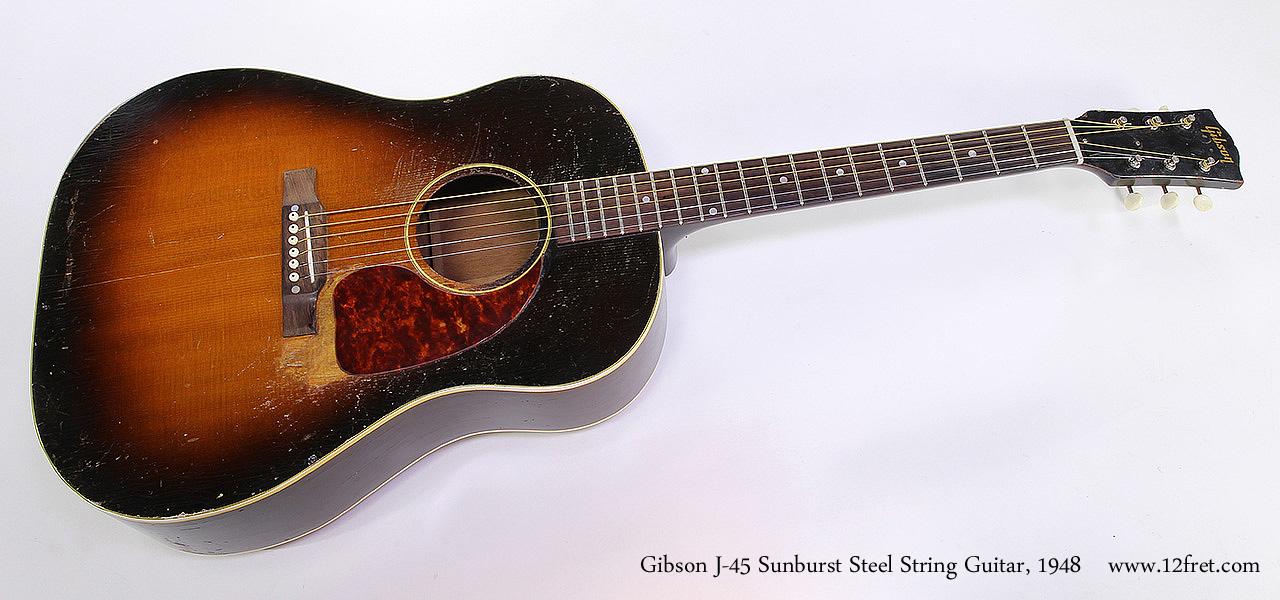 Gibson J-45 Sunburst Steel String Guitar, 1948 Full Front View