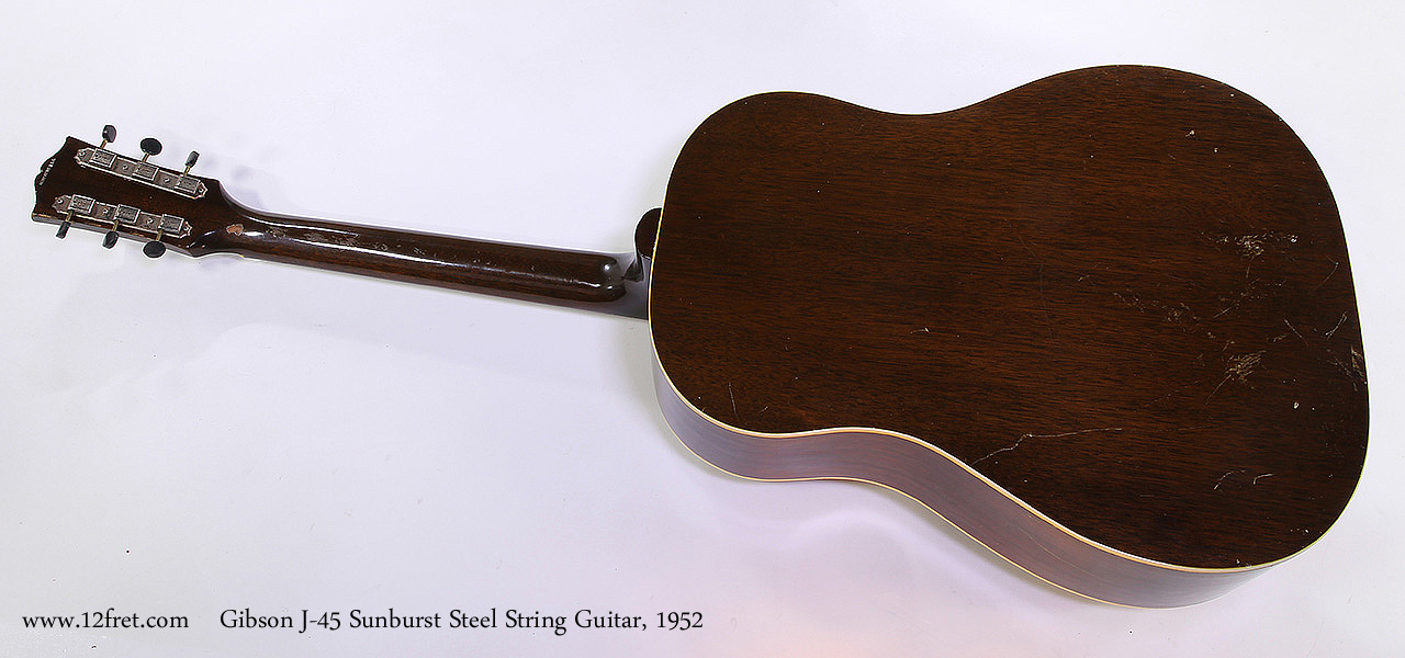 Gibson J-45 Sunburst Steel String Guitar, 1952 Full Rear View
