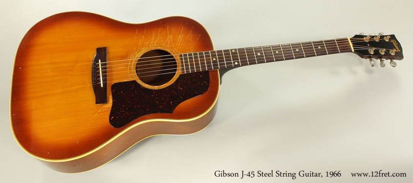 Gibson J-45 Steel String Guitar, 1966 Full Front VIew