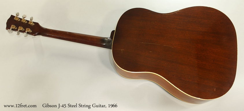 Gibson J-45 Steel String Guitar, 1966 Full Rear View