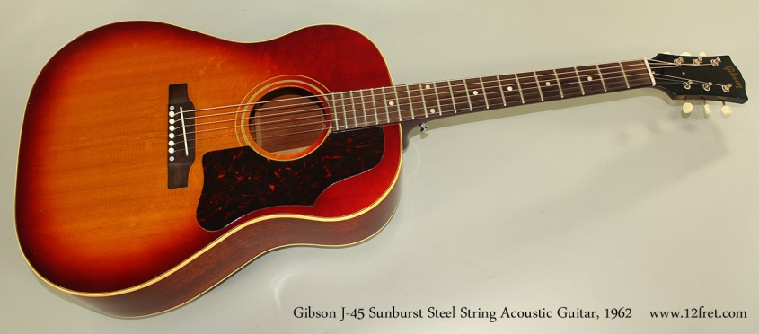 Gibson J-45 Sunburst Steel String Acoustic Guitar, 1962 Full Front View