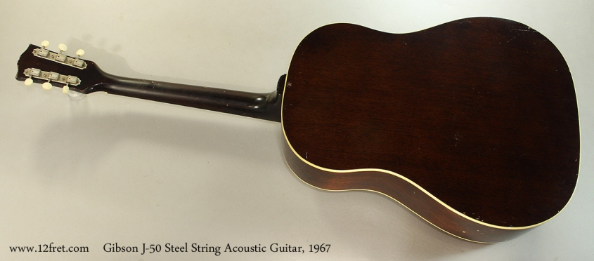 Gibson J-50 Steel String Acoustic Guitar, 1967 Full Rear View