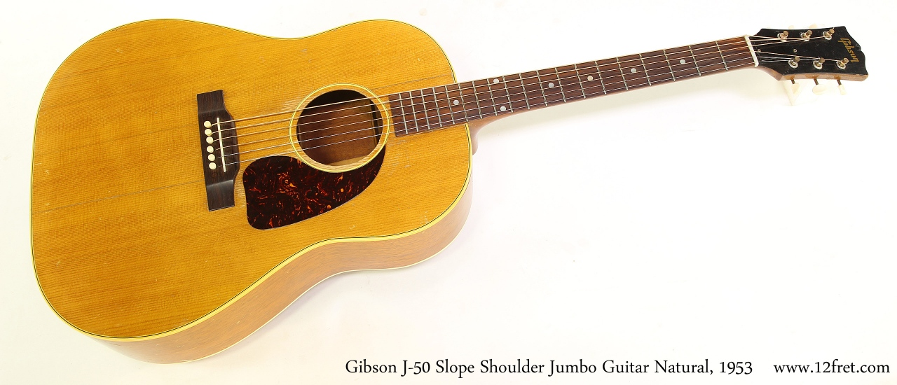 Gibson J-50 Slope Shoulder Jumbo Guitar Natural, 1953 Full Front View