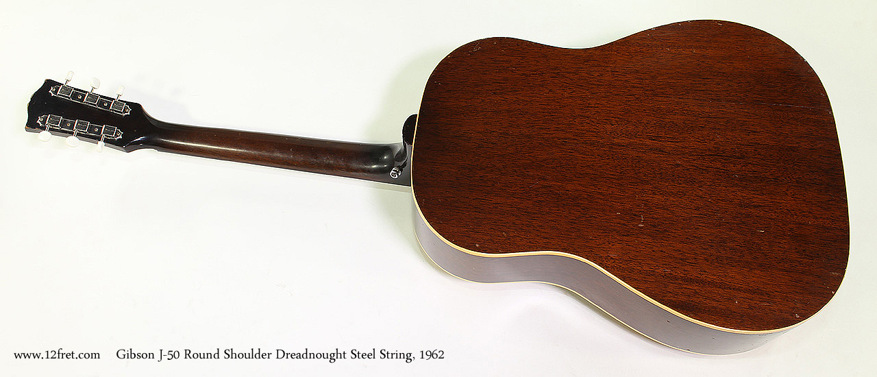 Gibson J-50 Round Shoulder Dreadnought Steel String, 1962 Full Rear View