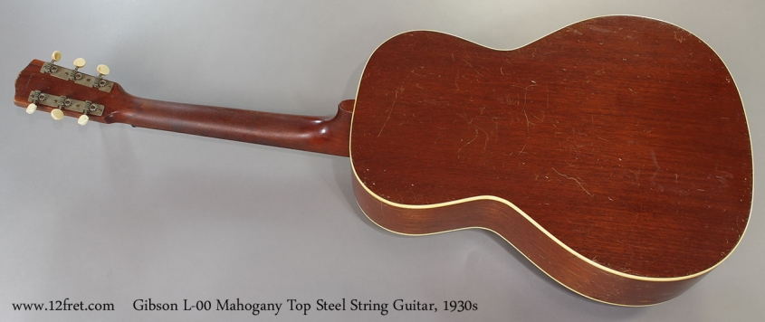 Gibson L-00 Mahogany Top Steel String Guitar, 1930s Full Rear View
