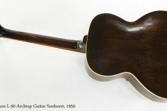 Gibson L-50 Archtop Guitar Sunburst, 1950   Full Rear VIew
