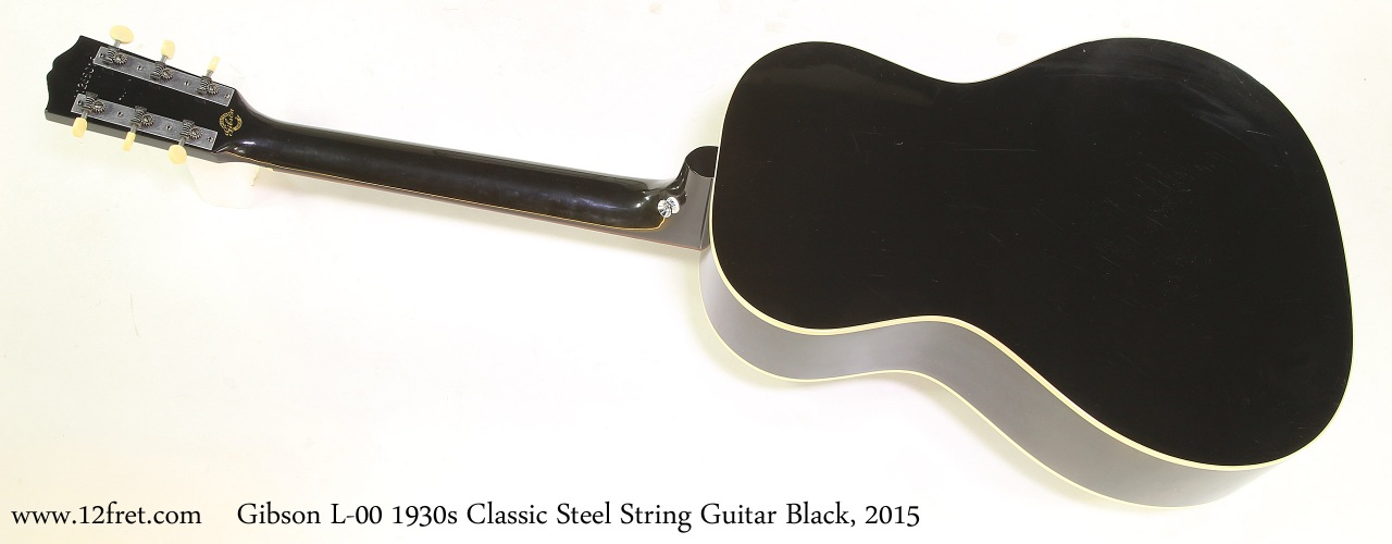 Gibson L-00 1930s Classic Steel String Guitar Black, 2015 Full Rear View